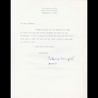 """Cobina Wright Vintage Signed Letter on Personal Stationery """"LIFE"""" Magazine Cover Girl"""