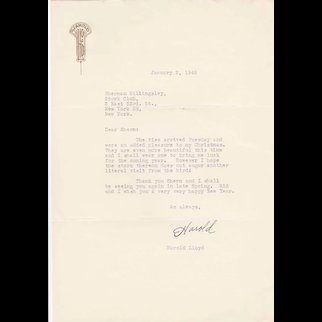 Harold Lloyd Signed 1948 Letter on Personal Stationery to Stork Club Owner