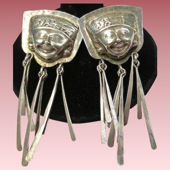 Eduardo Tijerina Mexican Sterling Silver Face Earrings