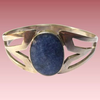 Modernist Mexican Sterling Silver Lapis Bracelet
