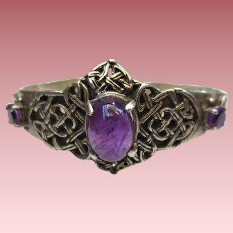 Unique Celtic Knot Sterling Silver Amethyst Cuff Bracelet