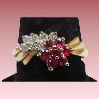 Vintage 14K Gold Ruby & Diamond Star Ring
