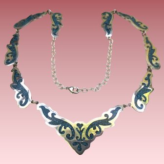 Stylish Mexican Sterling Silver Bib Necklace