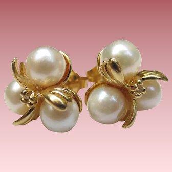 Lovely 14K Gold Pearl & Diamond Earrings