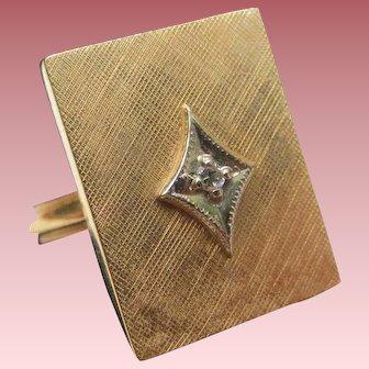 Sleek Vintage 14K Gold Panel Diamond Ring