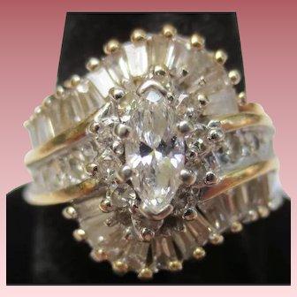 Large 14K Gold Vintage Diamond Cocktail Ring