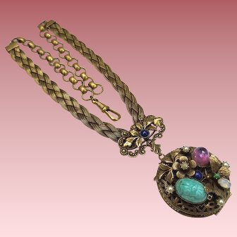 Delightful Vintage Book Chain Locket Pendant with Flowers Butterfly & Scarab