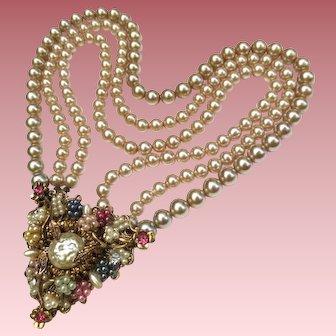 Vintage Pearl & Rhinestone Designer Pendant Necklace