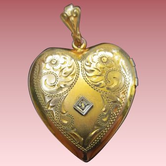 Lovely Edwardian Gold Filled Diamond Heart Locket Pendant