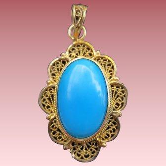 Wonderful Vintage Filigree 18K Gold Persian Turquoise Pendant