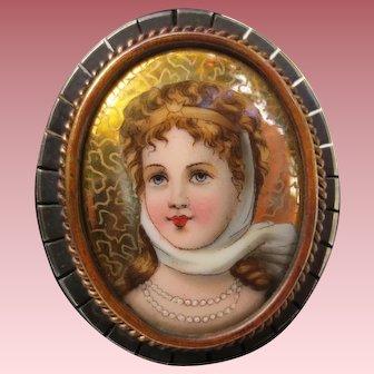 Fine Victorian Silver Enamel Portrait Brooch of Princess Louisa