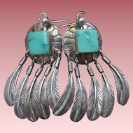 Navajo Sterling Silver George Begay Turquoise Feather Chandelier Earrings