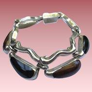 Fine Mexican 950 Silver Vintage Onyx Bracelet