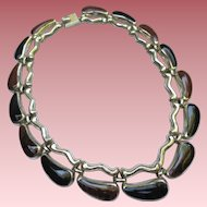 Mexican 950 Silver Fine Onyx Bookchain Necklace