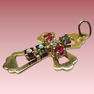 Vintage 10k Gold Cross Pendant with Rubies, Emerald, Topaz and Diamond