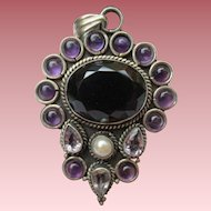 Large Smoky Quartz & Amethyst Sterling Silver Pendant