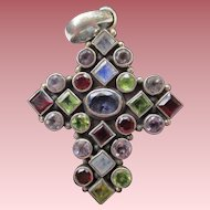Lovely Multi Gemstone Sterling Silver Cross Pendant Peridot, Amethyst and Garnet