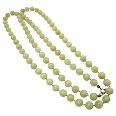 Quality early 1900's Jade Bead Necklace Strand