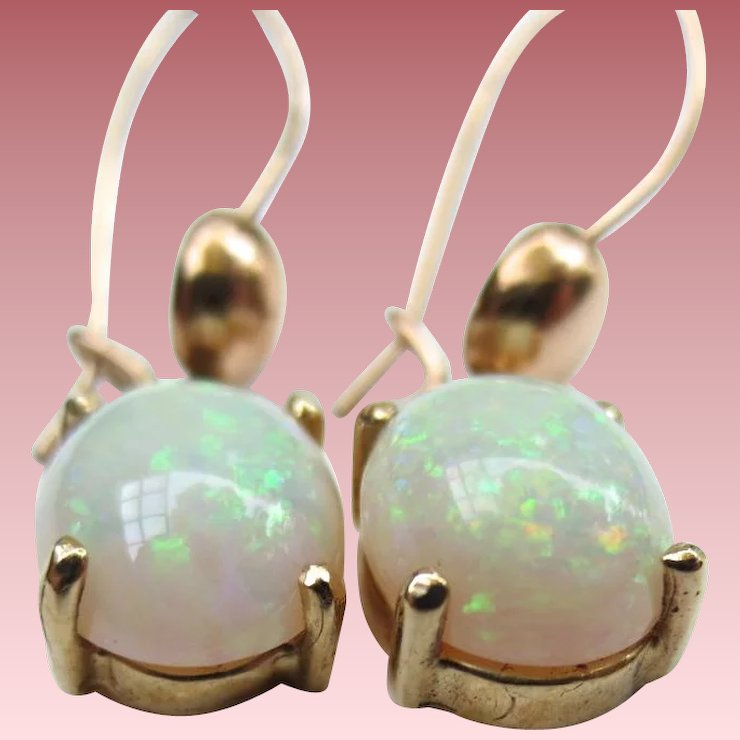 Lovely 14k Gold Vintage Opal Earrings