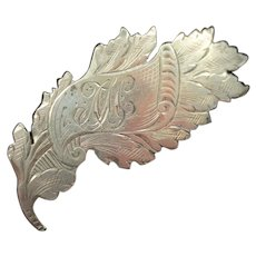 Victorian Silver Leaf & Scroll Antique Brooch