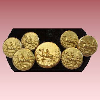 Antique Equestrian Horse Racing Gold Buttons