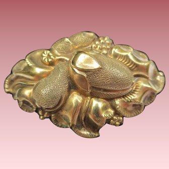 Georgian Gold Filled Fruit & Flower Victorian Brooch