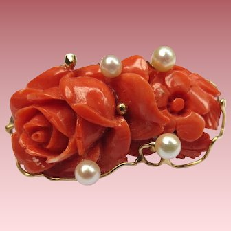 Lovely Coral & Pearl 14k Gold Rose Brooch Hawaii Maui