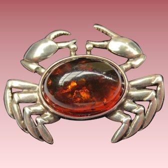 Vintage Sterling Silver Amber Crab Brooch