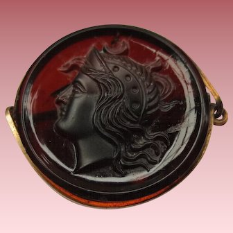 Antique Amber Cameo Brooch of Roman Soldier