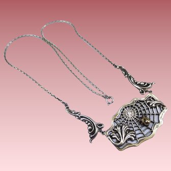 Sterling Silver & 14K Gold Spider Web Necklace
