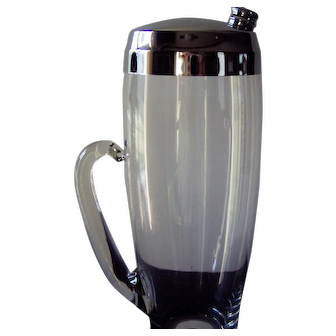 Clear glass cocktail shaker with curved glass handle