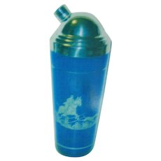 Cobalt Blue Cocktail Shaker with Silver Overlay