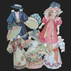 Nice and rare antique Selchow & Righter Paper Doll Girl Set