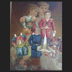 Nice and rare antique Selchow & Righter Paper Doll Boy Set