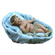 As found, nice antique wax baby in his cradle