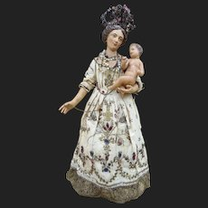 As found rare antique Madonna and baby in stunning original gown.