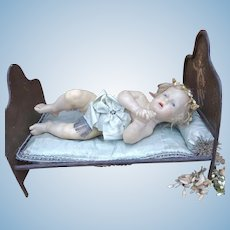 As found wonderful antique wax baby.