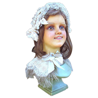 Antique French life size wax child mannequin head, ready for display.