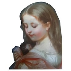 Assigned to Constant Joseph Brochart, antique pastel on canvas, girl and doll