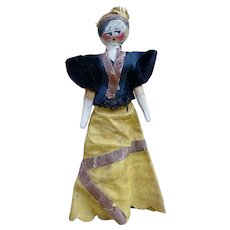 As found nice antique Grodnertal doll in original condition