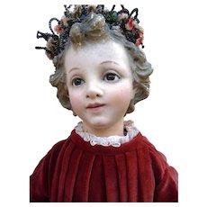 Magnificent Rare Antique XVIII Century French Wooden  Enfant Jesus statue