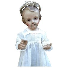 Adorable and Rare Antique XVIII Century French Wooden Santos Statue Enfant Jesus