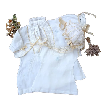Nice antique undergarments and bonnet for antique doll