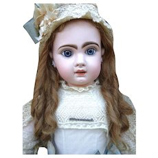 Gorgeous and enormous size 16 Jumeau Bebe with wonderful pale bisque head.