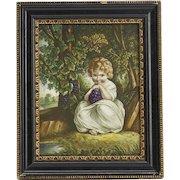 Fine Antique Derby Child With Grapes Framed Tile 19th C.