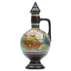 Gouda Art Pottery Floral Design Lidded Ewer 1920's