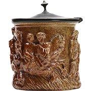Salt Glazed Figural Pewter Mounted Tobacco Jar C.1830