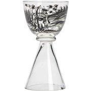 Josef Lenhardt Steinschonau Stag Hunt Glass 19/20th C