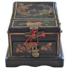 Antique Asian Cosmetic Make Up Box With Mirror, Drawer, Lacquer On Wood