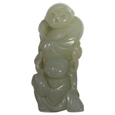 18th Century Jade Carving Of Lotus Gatherers